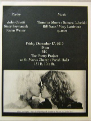 Announcement Flyer for an eveneing of poetry and music at St. Marks Church Friday, December 17,...