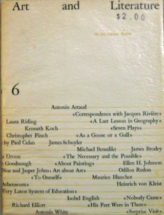 Art and Literature 6 (Signed by Artist Nell Blaine). Antonin Artaud, Maurice, Blanchot, James,...