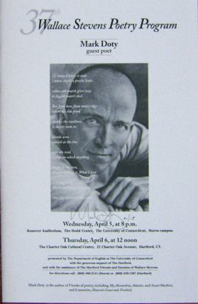Signed Poster - 37th Wallace Stevens Poetry Program. Mark Doty
