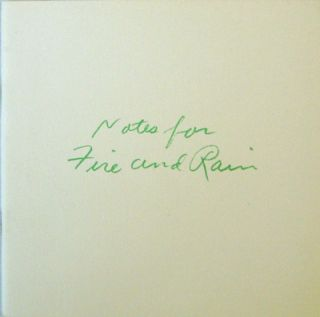 Notes For Fire and Rain. Elizabeth Artist Book - Murray