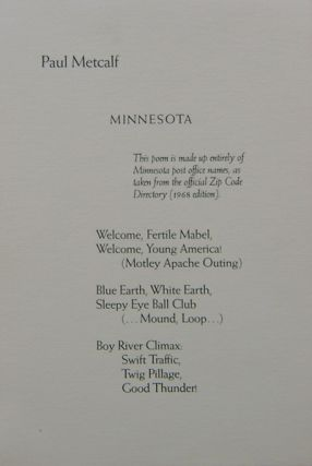 Minnesota (Signed Lettered Broadside Poem). Paul Metcalf