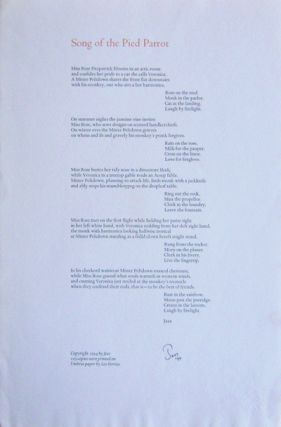 Song of the Pied Parrot (Signed Broadside Poem). Jess, Collins