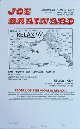 Art & Poetry Exhibition Poster (People Of The World: Relax!) Signed by Padgett, Elmslie and Clay....