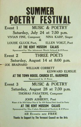 Summer Poetry Festival Poster Kent Museum, Calais, VT. Joe Brainard Poetry Reading Poster -...