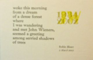 Poetry Postcard (A Real Dream). Robin Blaser