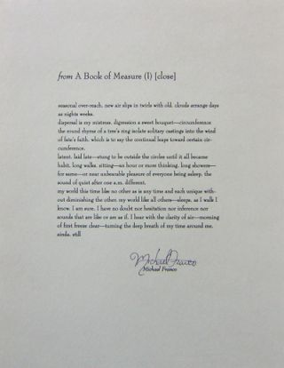 from A Book of Measure (I) [close] (Signed Broadside). Michael Franco