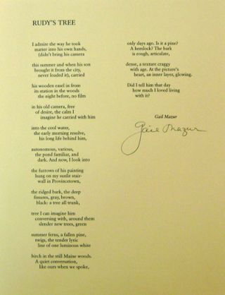 Rudy's Tree (Signed Broadside). Gail Mazur
