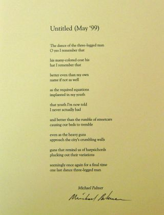 Untitled (May '99) (Signed Broadside). Michael Palmer