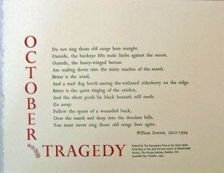 October Tragedy (Poetry Broadside). William Everson