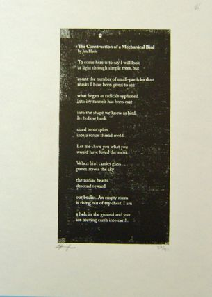 The Construction of a Mechanical Bird (Signed Poetry Broadside). Jen Hyde