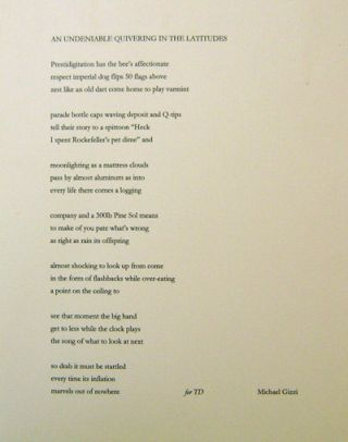 An Undeniable Quivering In The Latitudes (Broadside Poem). Michael Gizzi