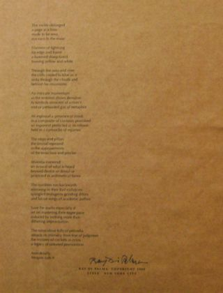 """The melee oblonged..."" (Signed Broadside Poem). Ray Di Palma"