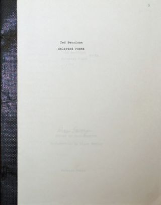 Selected Poems (Bound Galley - Signed by Saroyan). Aram Saroyan and, Alice Notley.