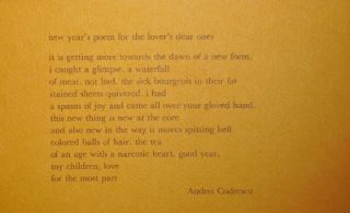 New Year's Poem For The Lover's Dear Ones (Poetry Postcard). Andrei Codrescu