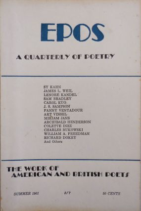 EPOS A Quarterly of Poetry Summer 1961 Vol. 12 No. 4. Will Tullos, Evelyn Thorne, Lenore Kandel...