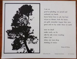 Untitled Broadside Poem (I am no good at pleading...). Diane Beats - Di Prima