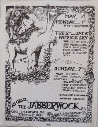 Poetry Reading and Musical Event Flyer from The Jabberwock, Berkeley, CA. Lew Welch / Jeff...