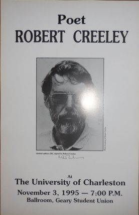 Poetry Reading Announcement Poster (Signed). Robert Creeley