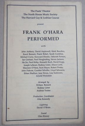 Frank O'Hara Performed. Frank New York School Ephemera - O'Hara.