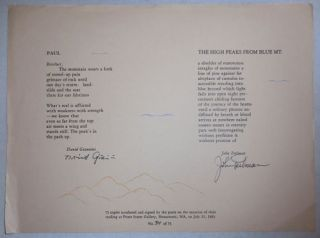 Poetry Broadside - Paul by Giannini and The High Peaks From Blue Mt. by Perlman (Signed by Both)....