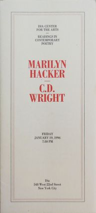 Dia Center for the Arts Broadsides. Marilyn Hacker, C. D. Wright
