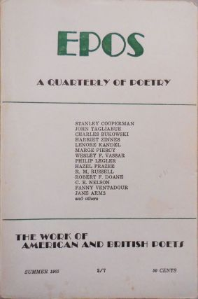 EPOS A Quarterly of Poetry Summer 1965. Will Tullos, Evelyn Thorne, Marge Piercy Stanley...