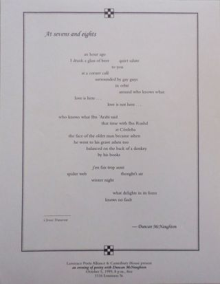 At Sevens and Eights (Broadside Poem). Duncan McNaughton
