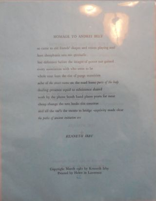Homage To Andrei Bely (Broadside Poem). Kenneth Irby