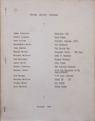 United Artists Fourteen. Ted Berrigan, Robert, Creeley, Russell, Banks