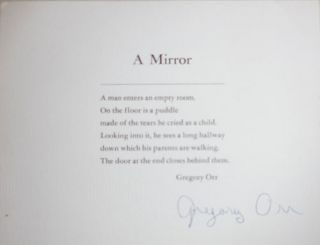 A Mirror (Signed Poetry Postcard). Gregory Orr