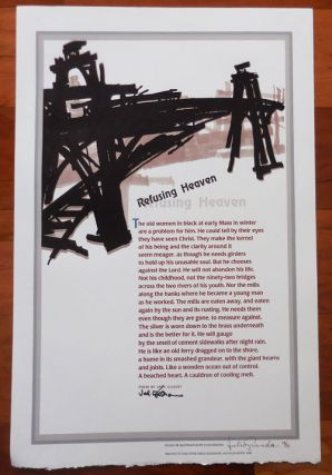 Refusing Heaven (Signed Broadside Poem). Jack Gilbert, Ill Julio Granda