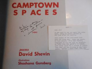 Camptown Spaces (Inscribed to Fellow Poet with Typed Postcard)