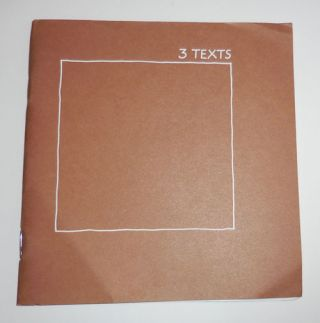 3 Texts; Texts for a Paved Area Adjacent to a Barn. Ian Hamilton Artist Book - Finlay, Stephen Raw