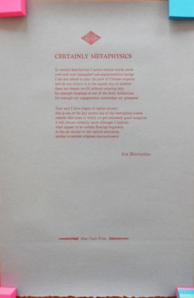 Certainly Metaphysics (Poetry Broadside). Asa Benveniste