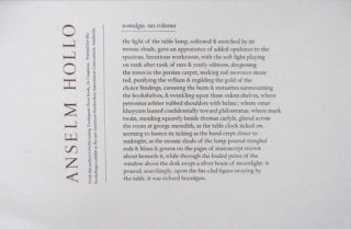 nostalgia: sax rohmer (Broadside Poem). Anselm Hollo