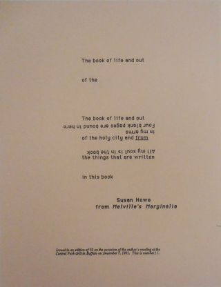 """The book of life and out ...."" (First line of a poetry broadside from Melville's Marginalia)...."
