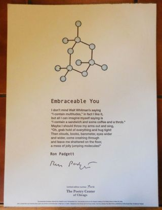 Embraceable You (Signed Poetry Broadside). Ron Padgett