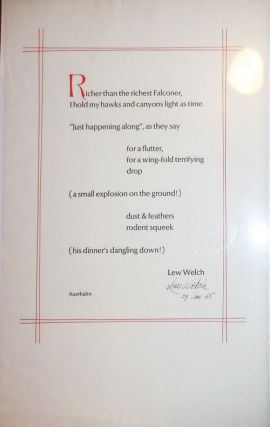 Broadside (Richer Than the Richest Falconer...) (Signed!). Lew Welch