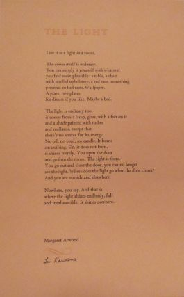 The Light (Poetry Broadside (Signed by Lin Lawrence). Margaret Atwood, Designer Lin Lawrence