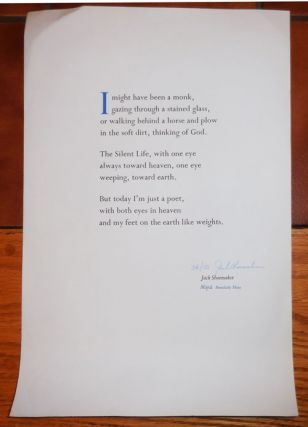 Untitled Broadside, Signed (I might have been a monk, .... ). Jack Shoemaker