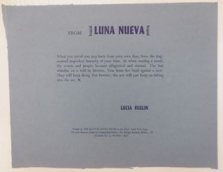 From LUNA NUEVA (Broadside). Lucia Berlin