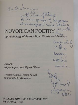 Nuyorican Poetry - An Anthology of Puerto Rican Words and Feelings (Inscribed by Algarin and Jose-Angel Figueroa)