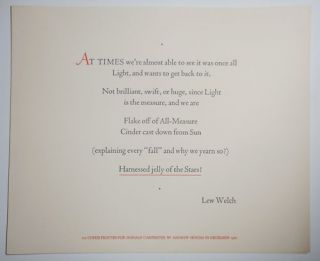 "Untitled Poetry Broadside ""At Times we're almost able to see it was once all ..."" Lew Welch"