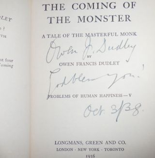 The Coming of the Monster (Inscribed); A Tale of the Masterful Monk