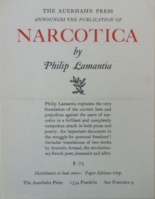 Auerhahn Press Announcement Card for the publication of Narcotica. Philip Auerhahn Press - Lamantia