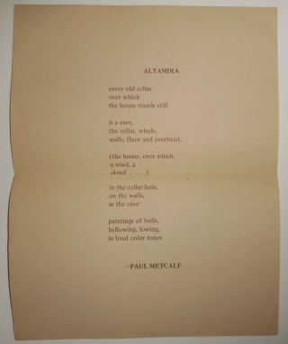 Altamira (Poetry Broadside). Paul Metcalf