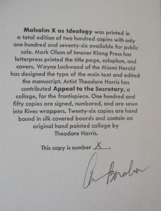 Malcolm X as Ideology (Signed Lettered Edition)
