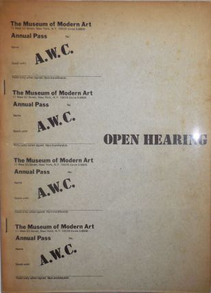 Open Hearing. Art Workers Coalition, Dan Graham Carl Andre, Lucy, Lippard, Sol LeWitt, Hans...